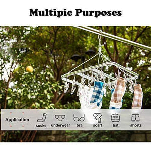 Selection asperffort stainless steel laundry drying rack with 26 clips drip hanger with metal clothespins for drying socks bras underware baby clothes socks clother hanger