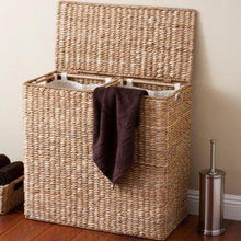 Load image into Gallery viewer, New birdrock home oversized divided hamper with liners espresso made of natural woven abaca fiber organize laundry cut out handles for easy transport includes 2 machine washable canvas liners