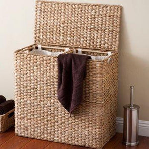 New birdrock home oversized divided hamper with liners espresso made of natural woven abaca fiber organize laundry cut out handles for easy transport includes 2 machine washable canvas liners