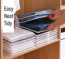 Load image into Gallery viewer, Explore closet mess killer l foldable stackable folded t shirt clothing organizer l fold sort laundry system l for drawers dresser shelves suitcase wardrobe cabinets l large jeans pants pack of 5