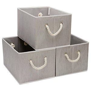 StorageWorks Polyester Storage Box with Strong Cotton Rope Handle, Foldable Basket Organizer Bin, Gray, Bamboo Style, Jumbo, 3-Pack