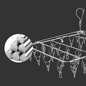 Budget rosefray laundry clothesline hanging rack for drying sturdy 34 clips collapsible clothes drying rack great to hang in a closet on a shower rod and outside on a patio or deck