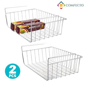 2Pcs 15.8  Under Cabinet Storage Shelf Wire Basket Organizer For Cabinet Thickness Max 1.2 Inch, Extra Storage Space On Kitchen Counter Pantry Desk Bookshelf Cupboard, Anti Rust Stainless Steel Rack