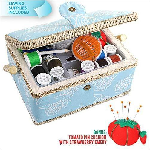 Large Sewing Basket Organizer with Complete Sewing Kit