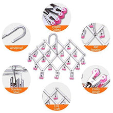 Load image into Gallery viewer, Storage hanging drying rack drip hanger laundry underwear sock lingerie drying hooks 18 clips pegs stainless stell folding portable windproof advanced instant collect clothesgreen