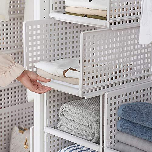 Hyfanstr Stackable Plastic Wardrobe Organizer Drawer Style Storage Basket Closet Cabinet Storage Shelf (Large X 2)