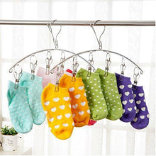 Load image into Gallery viewer, Heavy duty 3 pack stainless steel laundry drying rack clothes hanger with 10 clips for drying socks drying towels diapers bras baby clothes underwear socks gloves