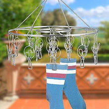 Load image into Gallery viewer, Explore stainless steel clothes drying racks laundry drip hanger laundry clothesline hanging rack set of 24 clothespins for drying clothes towels underwear lingerie socks