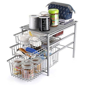 3S Stackable 3 Tier Sliding Cabinet Storage Basket Organizer Drawer, Under Bathroom Kitchen Sink Organizer, Silver