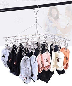 Select nice duofire stainless steel clothes drying racks laundry drip hanger laundry clothesline hanging rack set of 36 metal clothespins rectangle for drying clothes towels underwear lingerie socks