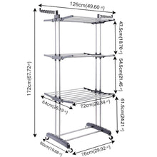 Load image into Gallery viewer, Cheap 3 tier rolling clothes drying rack clothes garment rack laundry rack with foldable wings shape indoor outdoor standing rack stainless steel hanging rods gray electroplate gray