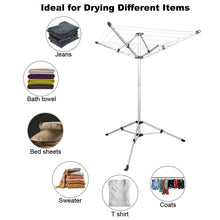 Load image into Gallery viewer, Kitchen drynatural foldable umbrella drying rack clothes dryer for laundry 4 arm 28 lines aluminum 65ft for indoor outdoor