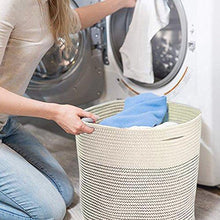 Load image into Gallery viewer, Save solaya large rope basket storage 17x15 hand woven decorative large natural cotton basket with handles round laundry hamper clothes diapers toys towels blankets kids nursery
