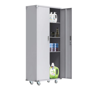 Amazon bonnlo 74 tall steel storage cabinet rolling metal storage locker with adjustable shelves and door for garage office kitchen laundry room