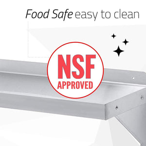 Heavy duty durasteel stainless steel wall mount shelf 84 wide x 14 deep commercial grade nsf approved good for restaurant bar home kitchen laundry garage and utility room