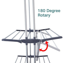 Load image into Gallery viewer, Budget friendly 3 tier rolling clothes drying rack clothes garment rack laundry rack with foldable wings shape indoor outdoor standing rack stainless steel hanging rods gray electroplate gray
