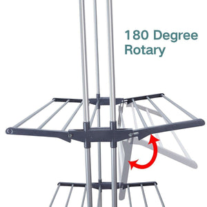 Budget friendly 3 tier rolling clothes drying rack clothes garment rack laundry rack with foldable wings shape indoor outdoor standing rack stainless steel hanging rods gray electroplate gray
