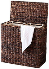 Load image into Gallery viewer, Latest birdrock home oversized divided hamper with liners espresso made of natural woven abaca fiber organize laundry cut out handles for easy transport includes 2 machine washable canvas liners