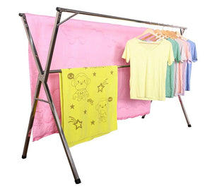 Top exilot heavy duty stainless steel laundry drying rack for indoor outdoor foldable easy storage clothes drying rack free of installation adjustable garment rack
