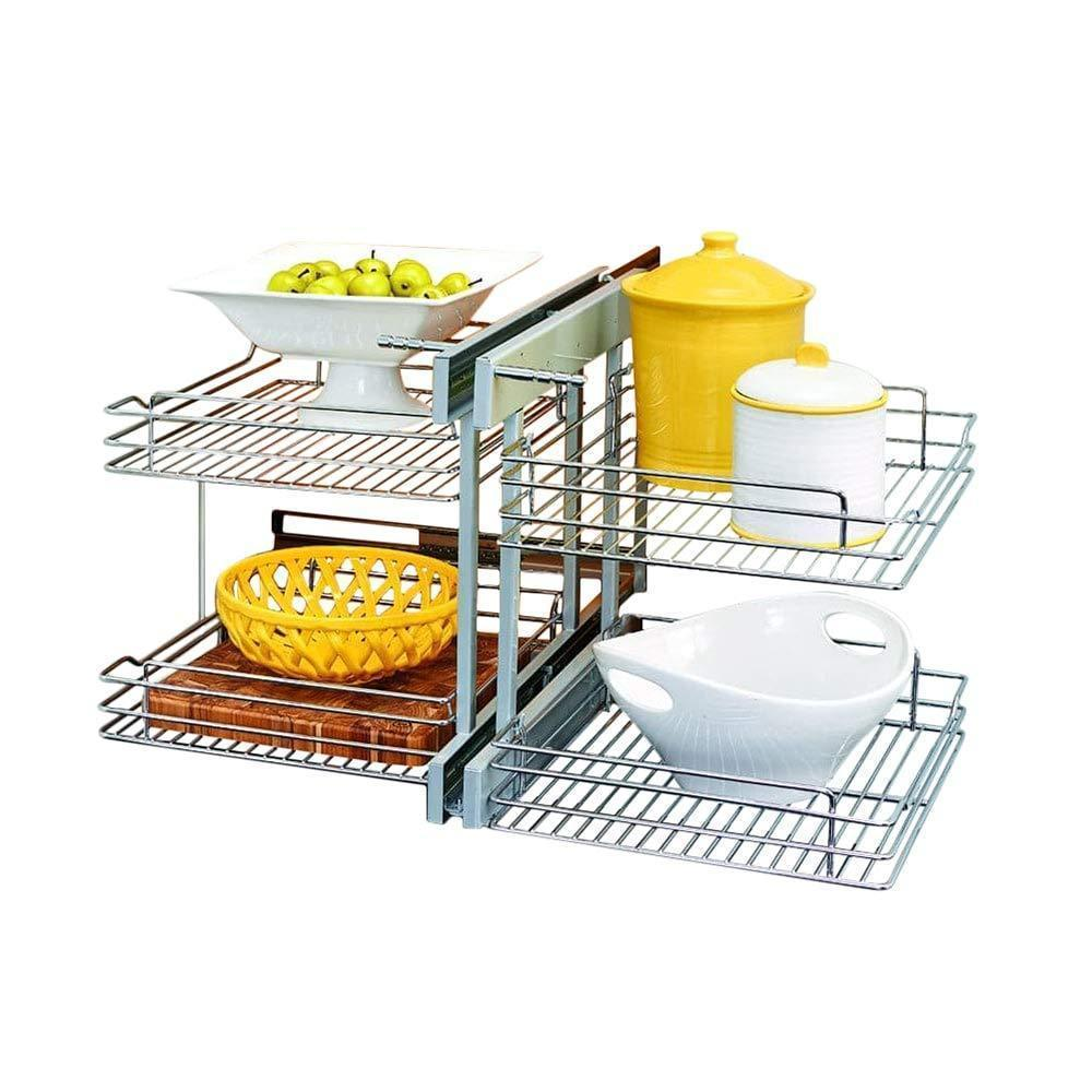 Rev-A-Shelf - 5PSP-18-CR - 18 in. Blind Corner Cabinet Pull-Out Chrome 2-Tier Wire Basket Organizer