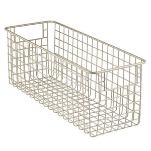 On amazon mdesign farmhouse decor metal wire food storage organizer bin basket with handles for kitchen cabinets pantry bathroom laundry room closets garage 16 x 6 x 6 4 pack satin
