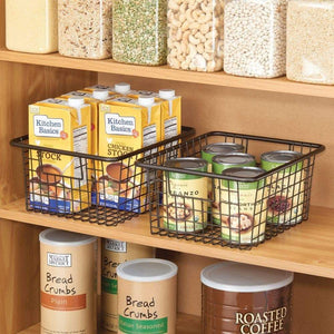 The best mdesign farmhouse decor metal wire food storage organizer bin basket with handles for kitchen cabinets pantry bathroom laundry room closets garage 10 25 x 9 25 x 5 25 4 pack bronze
