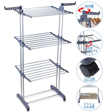 Load image into Gallery viewer, Budget friendly voilamart clothes drying rack 3 tier with wheels foldable clothes garment dryer compact storage heavy duty stainless steel hanger laundry indoor outdoor airer