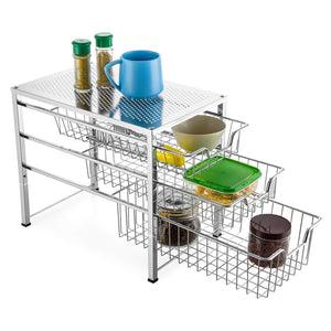 Bextsware Cabinet Basket Organizer with 3 Tier Wire Grid Sliding Drawer, Multi-Function Stackable Mesh Storage Organizer for Kitchen Counter, Desktop,Bathroom, Under Sink(Chrome)