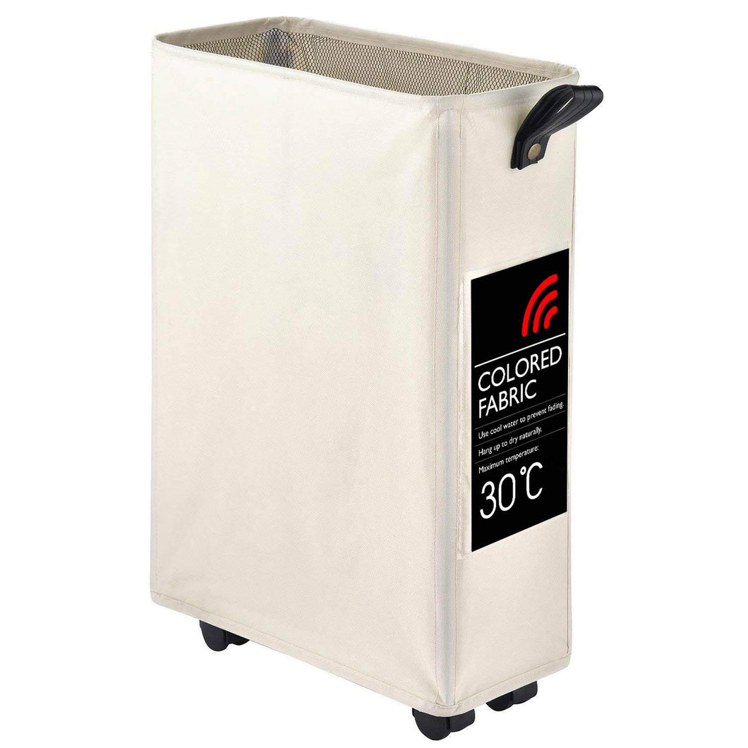 Slim Rolling Laundry Hamper Basket Wheels Durable Dirty Clothes Bag Collapsible Rectangular Home Washing Corner Bin Beige White 22