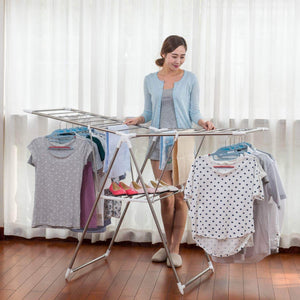 Great dlandhome stainless steel clothes drying rack gullwing space saving laundry rack foldable for indoor and outdoor use k8008