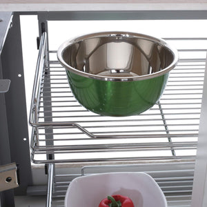 34.6x21.3x8.3 In. Under Cabinet Pull-Out Chrome 4-Tier Wire Basket Organizer Cabinet Dish Rack Shelves Bowl Utensils HolDer Full Pullout Set Gray Bottom