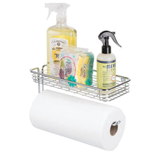 Load image into Gallery viewer, Storage organizer mdesign wall mount metal storage organizers for kitchen includes paper towel holder with multi purpose shelf and broom mop holder with 3 hooks for pantry laundry garage 2 piece set chrome
