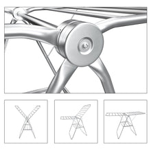 Load image into Gallery viewer, Results songmics 100 stainless steel clothes drying rack bonus sock clips gullwing space saving laundry rack foldable for indoor and outdoor use ullr51sv