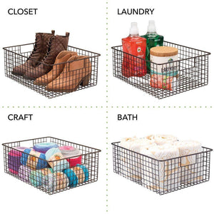 Buy mdesign large farmhouse decor metal wire garage home organizer storage bin basket for cabinets shelves countertops bathroom bedroom kitchen laundry room closet 16 long 4 pack bronze