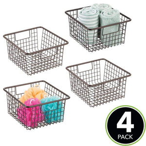 Storage mdesign farmhouse decor metal wire storage organizer bin basket with handles for bathroom cabinets shelves closets bedrooms laundry room garage 10 25 x 9 25 x 5 25 4 pack bronze