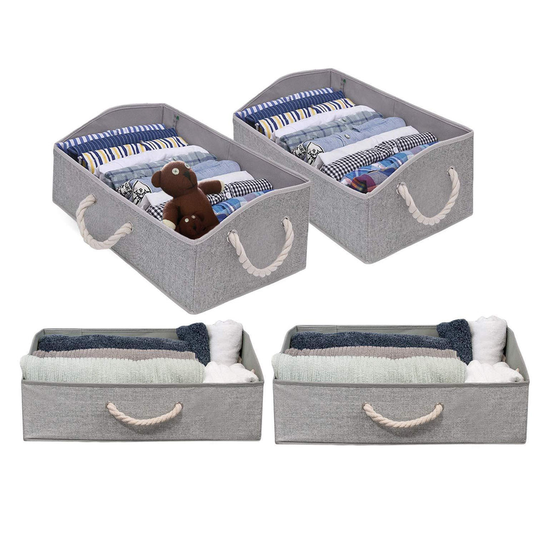 Fabric Storage Bins, Linen Closet Organizers and Storage Boxes for Shelves, Home Storage Baskets for Organizing, 4-pc Grey Storage Box Organizers, Collapsible Storage Bins, Playroom Organization Bins
