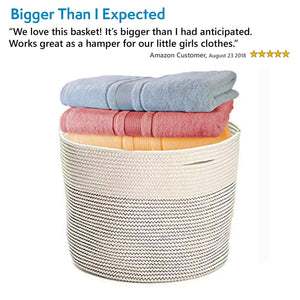 Save on solaya large rope basket storage 17x15 hand woven decorative large natural cotton basket with handles round laundry hamper clothes diapers toys towels blankets kids nursery