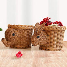 Load image into Gallery viewer, Imitated Vine Holder Basket Braided Animal Shaped Fruits Storage Rattan Woven