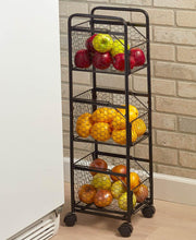 Load image into Gallery viewer, Decorative Slim Rolling Metal Kitchen Fruit & Vegetable Basket Storage Organizer Cart