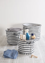 Load image into Gallery viewer, Shop here dii fabric round room nurseries closets everyday storage needs asst set of 3 gray stripe laundry bin assorted sizes