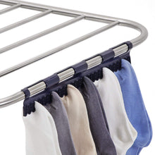 Load image into Gallery viewer, Select nice songmics stainless steel clothes drying rack bonus sock clips foldable for easy storage gullwing space saving laundry rack ullr52bu