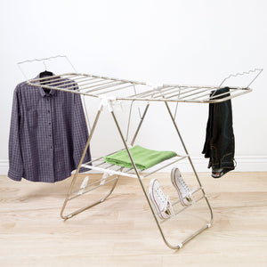 Storage organizer heavy duty laundry drying rack chrome steel clothing shelf for indoor and outdoor use best used for shirts pants towels shoes by everyday home