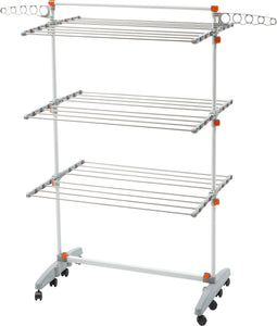Discover the best idee bdp v23 foldable rolling 3 tier clothes laundry drying rack with stainless steel hanging rods collapsible shelves and base for easy storage made in korea premium size orange