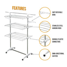 Load image into Gallery viewer, Amazon best stainless drying clothes rack portable rolling drying rack for laundry baby clothes drying hangers rack stainless drying racks for laundry 3 tier drying racks for laundry by kp solutions