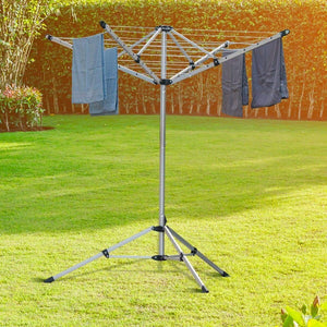 New drynatural foldable umbrella drying rack clothes dryer for laundry 4 arm 28 lines aluminum 65ft for indoor outdoor