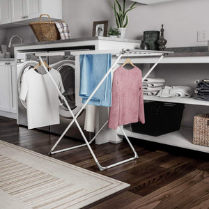 Storage organizer lavish home extendable clothes drying rack telescoping laundry sorter with rust resistant metal x frame for folding and hanging garments