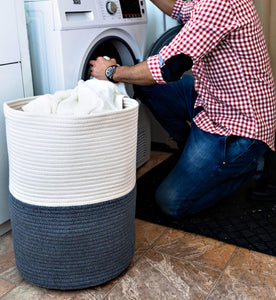 Products extra large cotton rope laundry basket with lid laundry hamper with lid woven storage organizer for blankets pillows towels clothes toys baby nursery bathroom living room kitchen dark gray white