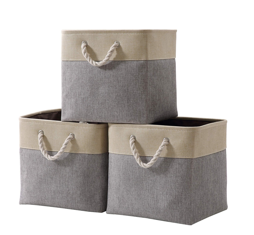 Discover decomomo cube foldable storage bin 3 pack collapsible sturdy cationic fabric storage basket with handles for organizing shelf nursery home closet laundry office grey beige 13 x 13 x 13