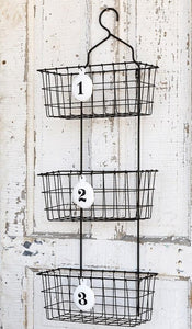Vintage Inspired Hanging Numbered Basket Organizer