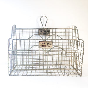 Hanging wire vintage in and out basket letter or mail organizer
